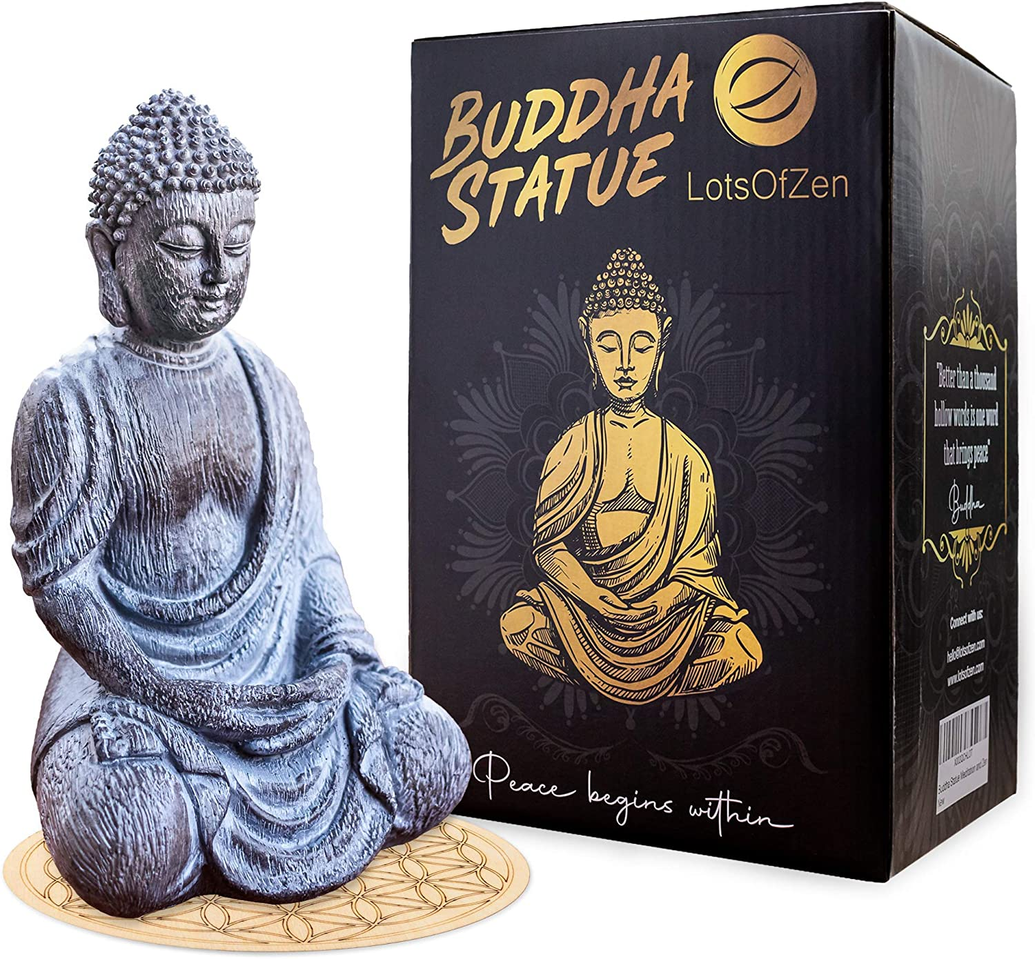 Reservation Lord Buddha Statue 5 popular Mini — Durable Dec inch Resin 6.7