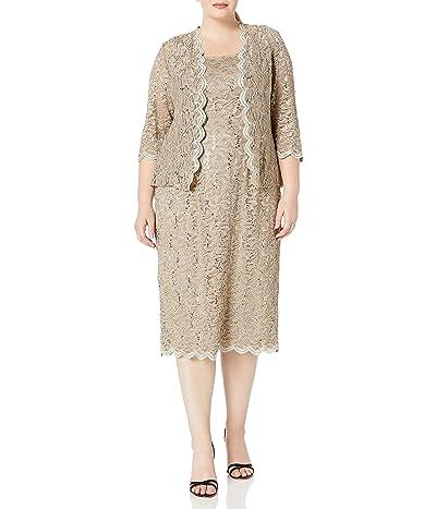 Alex Evenings Plus Size Tea Length Lace Dress and Jacket