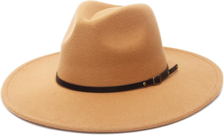 EOZY Belt Buckle Fedora Hat for Women,Wide Brim Cowboy Hat Floppy Felt Trilby Jazz Hat