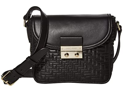 Cole Haan Lock Quilted Crossbody (Black) Handbags