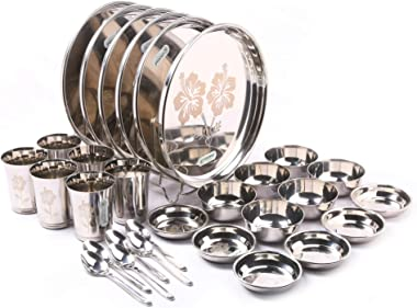 Coconut Stainless Steel ( Heavy Guage) Mirror Finish with Laser Etchhing Design Super Platina Dinner Set / Dinnerware- Family