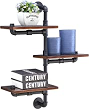 Danya B. 3-Tier Vertical Floating Staggered Industrial Rustic Pipe Shelves - Wall Mount