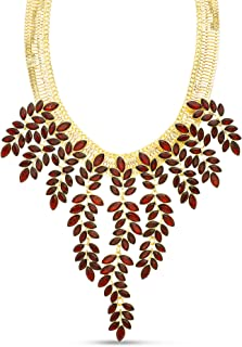 Steve Madden Red Rhinestone Leaf Curb Link Statement Necklace for Women