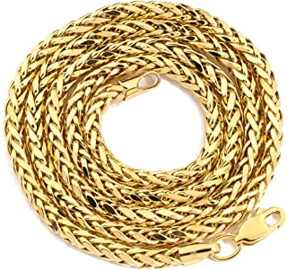 """LoveBling 10K Yellow Gold 3mm 26"""" Wheat, Palm Chain Necklace with Lobster Lock"""