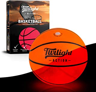 Twilight Action LED Light Up Basketball, Official Size 5 Lighted Basketball with Pump, Extra Lights and Batteries, Glow LE...