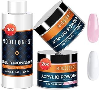 Modelones 2 Colors 2oz Acrylic Powder + 4oz Liquid Monomer Professional Acrylic Powder..
