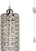 HMVPL Pendant Lighting Fixtures with Plug in Hanging Cord and Dimmer Switch, Modern Crystal Hanging Chandelier Sparkly Swag Ceiling Lamp for Kitchen Island Dining Table Bed-Room Closet Foyer Girls