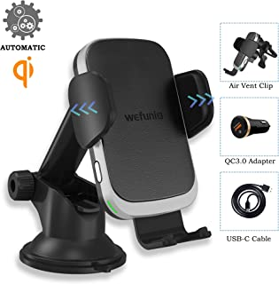 Wireless Car Charger, Wefunix Auto Clamping 10W Fast Qi Charging Mount Windshield Dashboard Air Vent Phone Holder Compatible for iPhone 11/11 Pro Max/Xs MAX/XR/X/8+, Samsung Galaxy S10+ S9+ S8 Note 9