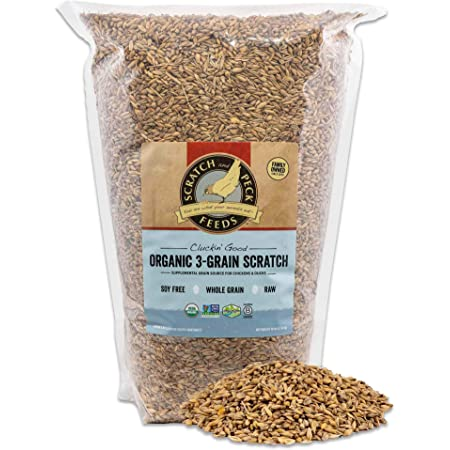 Scratch and Peck Feeds Cluckin' Good Organic 3-Grain Scratch for Chickens and Ducks -10-lbs - Organic and Non-GMO Project Verified - 9960-01