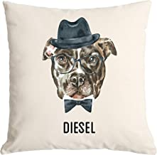 Qualtry Personalized Watercolor Dog Throw Pillow Cover 18 x 18- Decorative Pillow Case, Unique Gift for Dog Lovers (Diesel Design)