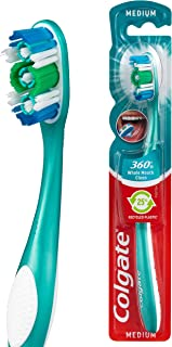 Colgate 360° Whole Mouth Clean 25 percent Recycled Plastic Handle Manual Toothbrush Medium Bristles with Cheek and Tongue ...
