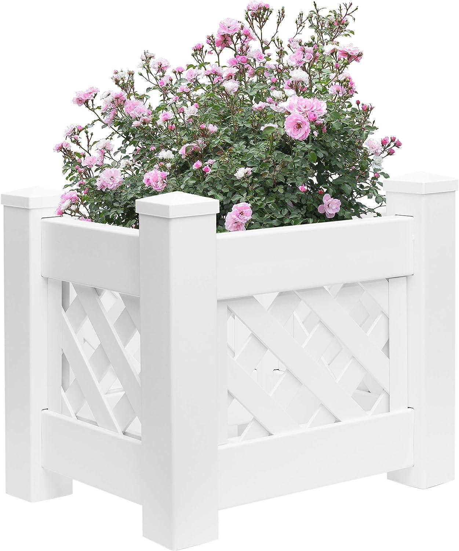 Gardenised White Vinyl Raised Lattice Fence Bed Trellis Planter 新作からSALEアイテム等お得な商品満載 オープニング 大放出セール