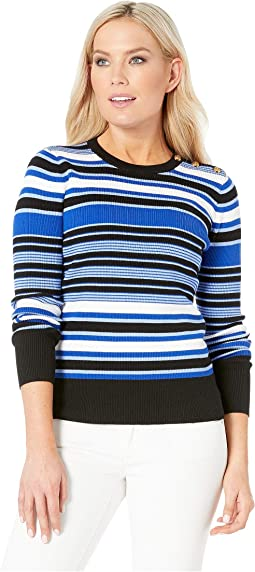Petite Striped Cotton-Blend Sweater