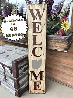 OHIO State SIGN Vertical *FARM, HOME, LAKE, or WELCOME *Rustic Distressed Wood *Antique Red White or River Rock Blue Gray *LARGE XL *Inside *Outside *Exterior *Entryway, Porch, By Front Door OH