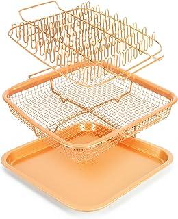 EaZy MealZ - Bacon Rack & Crisper Basket Set - Healthier Cooking - Air Fry - Non-Stick - 9x9 (Copper)