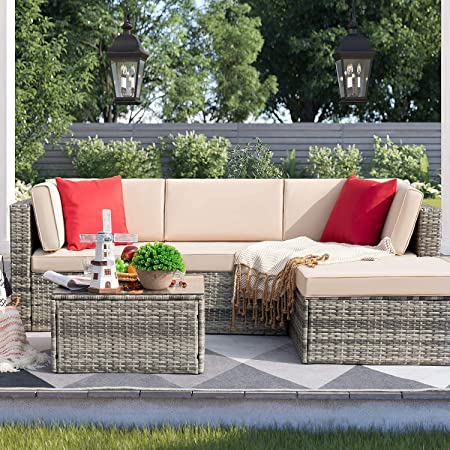 Devoko 5 Pieces Patio Furniture Sets Outdoor Sectional Sofa Manual Weaving Rattan Wicker Patio Conversation Set with Cushion and Glass Table (Grey)