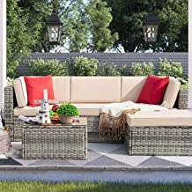 Devoko 5 Pieces Patio Furniture Sets All-Weather Outdoor Sectional Sofa Manual Weaving Wicker Rattan Patio Conversation Se...