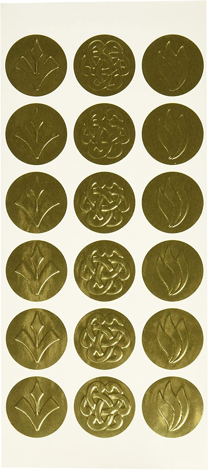 Geographics Self-Adhesive Embossed Seals, Gold, 54 per Pack (45204): Office Products