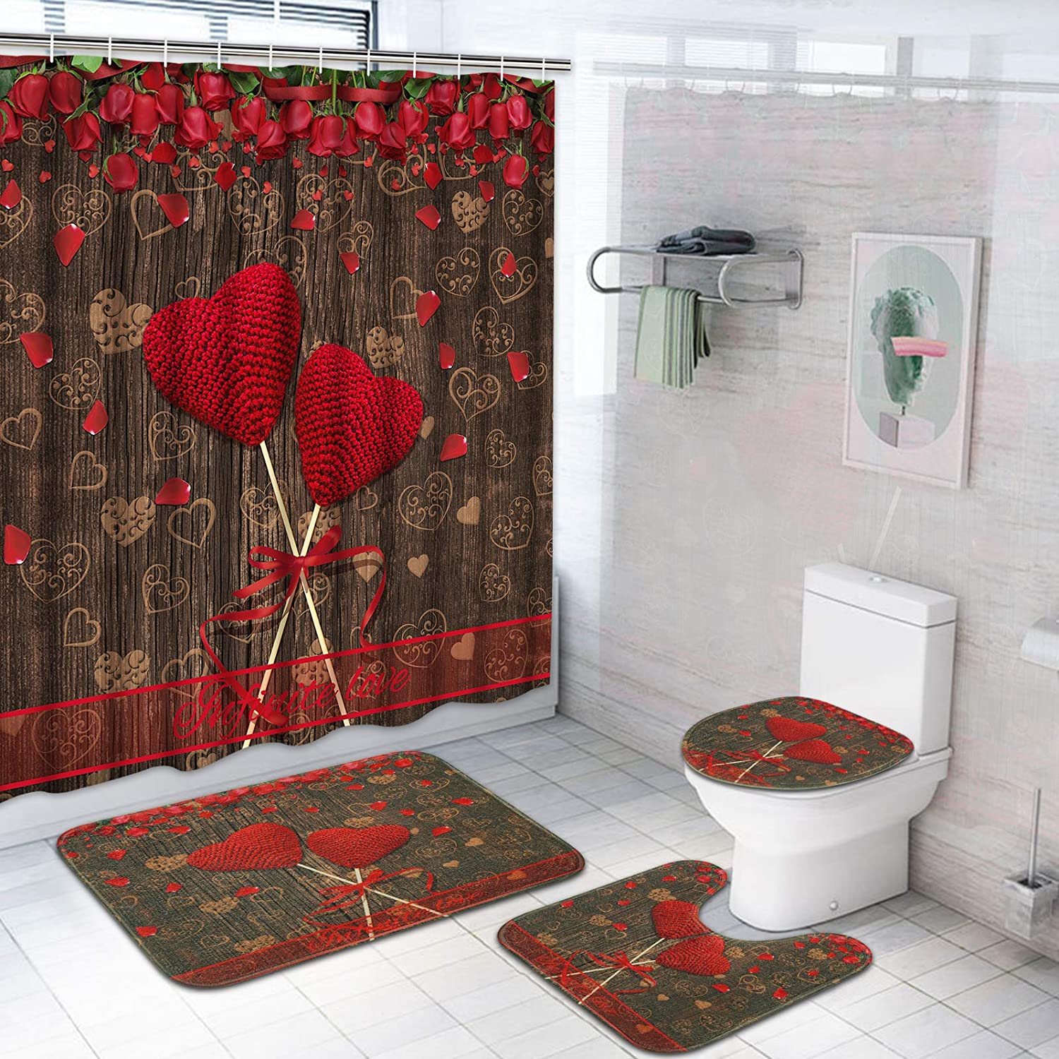 TAMOCRed Rose Shower Choice Curtain Set Toilet L Non-Slip Rug Ranking TOP5 with