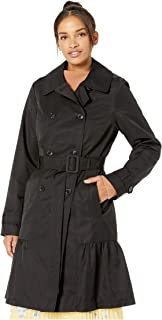 Kate Spade New York Cotton Blend Trench Coat with Waist Tie Black XS