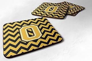 "Caroline's Treasures Letter O Chevron Black and Gold Foam Coaster (Set of 4), 3.5"", Multicolor"