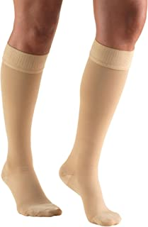 Truform 20-30 mmHg Compression Stockings for Men and Women, Knee High Length, Dot Top, Closed Toe, Beige, 3X-Large