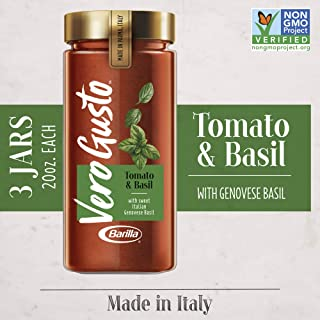Vero Gusto By Barilla Tomato & Basil Pasta Sauce 3 Pack, 20 Oz Jar | Made In Parma, Italy | No Artificial Ingredients & No Added Sugar | Non-Gmo Project Verified