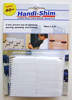 Handi-Shim, White HS1840WH Plastic Construction Shims/Spacers, 40 Pack, 1/8-Inch, 40