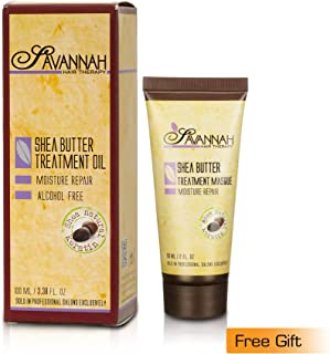 Savannah Hair Therapy Treatment Oil 100 ml and Free Savannah Hair Therapy Treatment Masque 60 ml - Shea Butter Treatment, Natural Keratin for Dry and Damaged Hair. Sulphate and Alcohol Free.