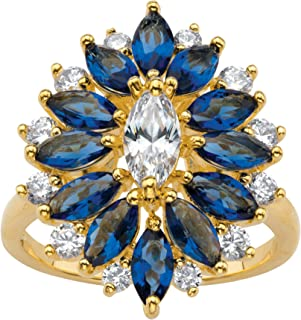 14K Yellow Gold Plated Marquise Cut Cubic Zirconia with Marquise Blue Simulated Sapphire Floral Ring