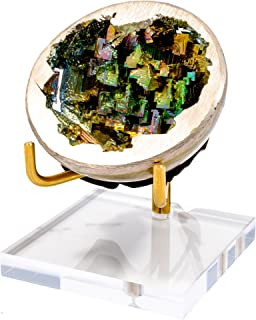 Mapleton Drive Bismuth Geode Paper Weight with Acrylic and Brass Stand