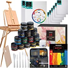 MEEDEN Great Deluxe Value Acrylic Painting Kit with French Style Easel, 15×100ML(3.38 oz) Acrylic Paints, 10xAcrylic Paint...