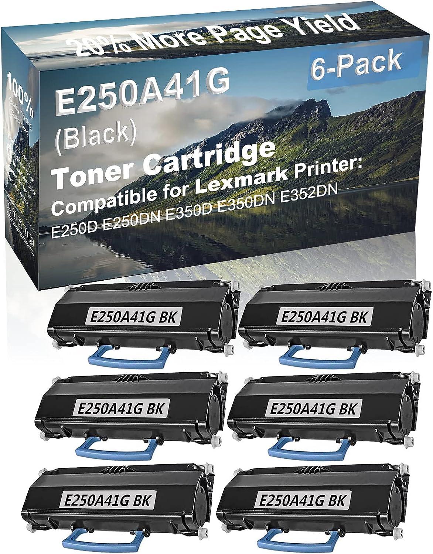 6-Pack Compatible High Yield E250D, E250DN, E350D, E350DN, E352DN Printer Cartridge Replacement for Lexmark E250A41G Toner Cartridge (Black)