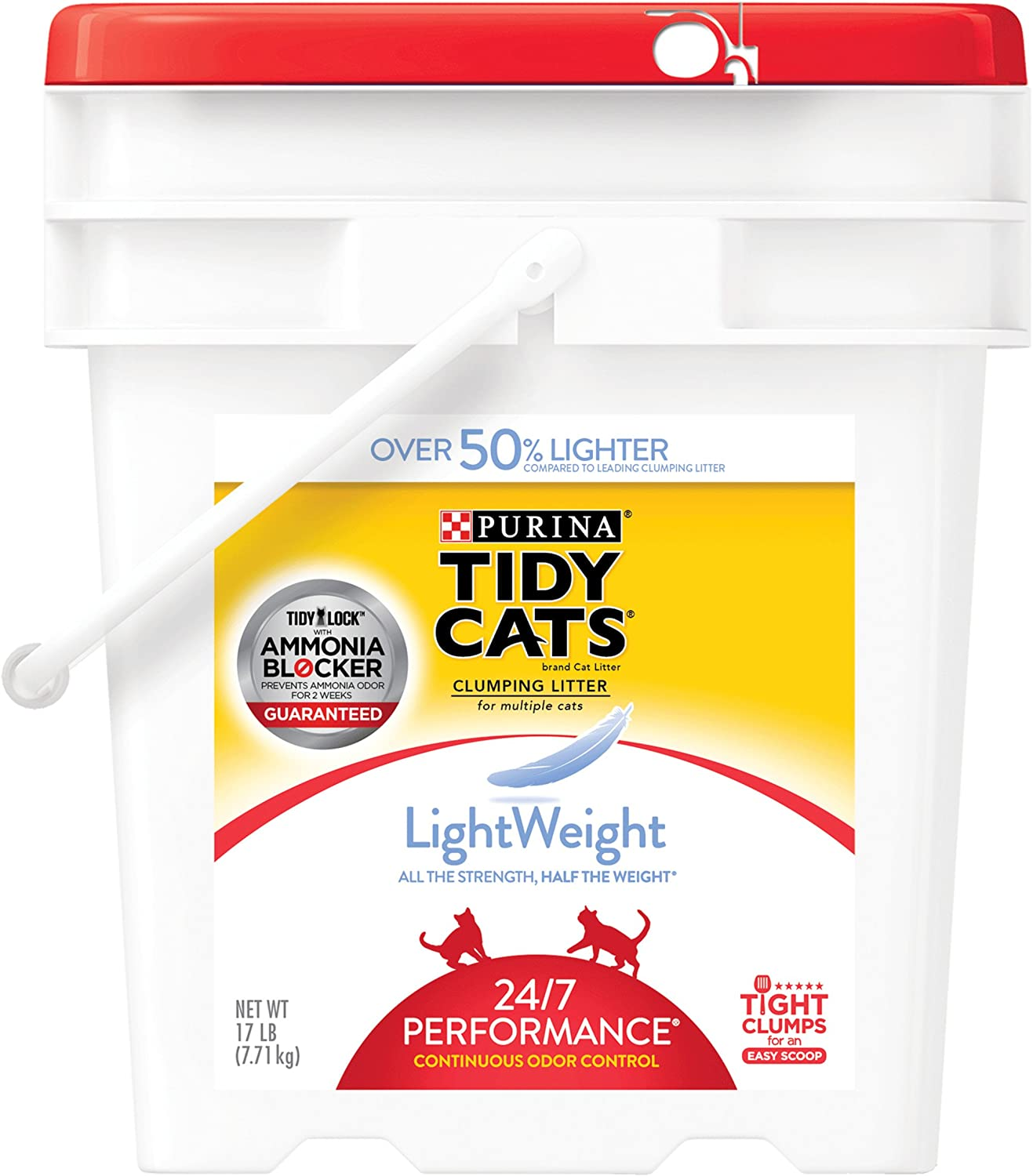 Purina Tidy Cats LightWeight 24 7 Performance Clumping Litter for Multiple Cats  (1) 17 lb. Pail