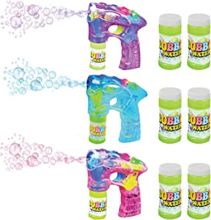 ArtCreativity Blue, Pink and Purple Bubble Blaster Set with LED Light Up and Sound, Includes 7 Inch Bubble Guns and 6 Bottles of Bubble Solution Refill, Party Favors - Batteries Included
