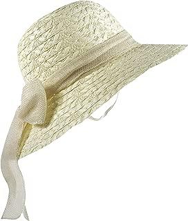 Wasolola Straw Hat for Women Wide Brim Bowknot Design Beach Sun Hat Foldable Chin Strap Roll Up SPF 50+