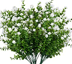 Artificial Flowers Fake Indoor Outdoor Boxwood Shrubs UV Resistant Plants 5 Pack Faux Plastic Greenery Bouquet Indoor Outside Hanging Planter Home Kitchen Office Wedding Farmhouse Garden Decor