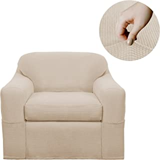 Maytex Reeves Stretch 2 Piece Arm Chair Furniture Cover Slipcover, Natural White