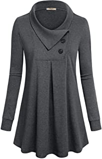 Timeson Women`s Long Sleeve Button Lapel Pullover Tunic Swing Sweatshirt