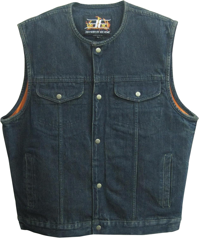Biker's Edge Men's Denim Collarless Club Style Vest