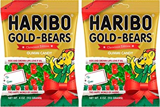 Haribo Gold Bears Christmas Edition Gummi Candy - 4 oz Bag (2 Bags)