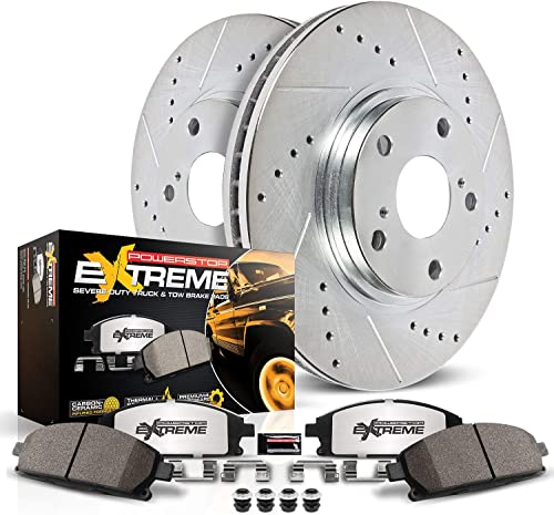 new arrival Power lowest Stop K2952-36 Front lowest Z36 Truck & Tow Brake Kit, Carbon Fiber Ceramic Brake Pads and Drilled/Slotted Brake Rotors outlet sale