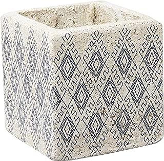 TAG Planter Plant Pot Succulents Indoor Outdoor Square Nomad Ceramic Cement Concrete Boxes White  Blue Aztec Print 5.5 Inches Squared Box