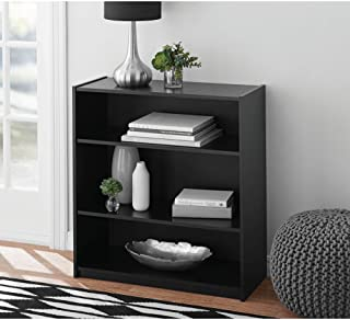 Mainstay Easy to Assemble, Contemporary Style, 3-Shelf Wood Bookcase, Multiple Colors, Black (Black)
