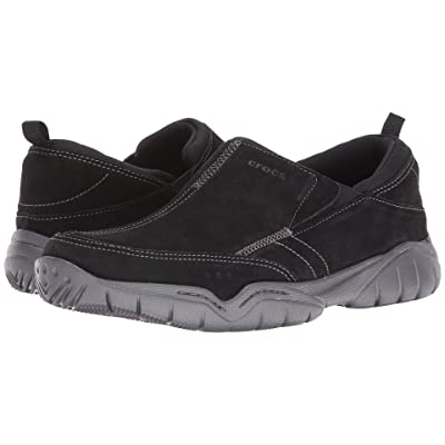Crocs Swiftwater Leather Moc (Black/Graphite) Men