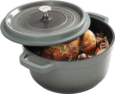 Crock Pot 79566.02 Edmound 5 Quart Cast Aluminum Dutch Oven with Lid, Gradient Grey