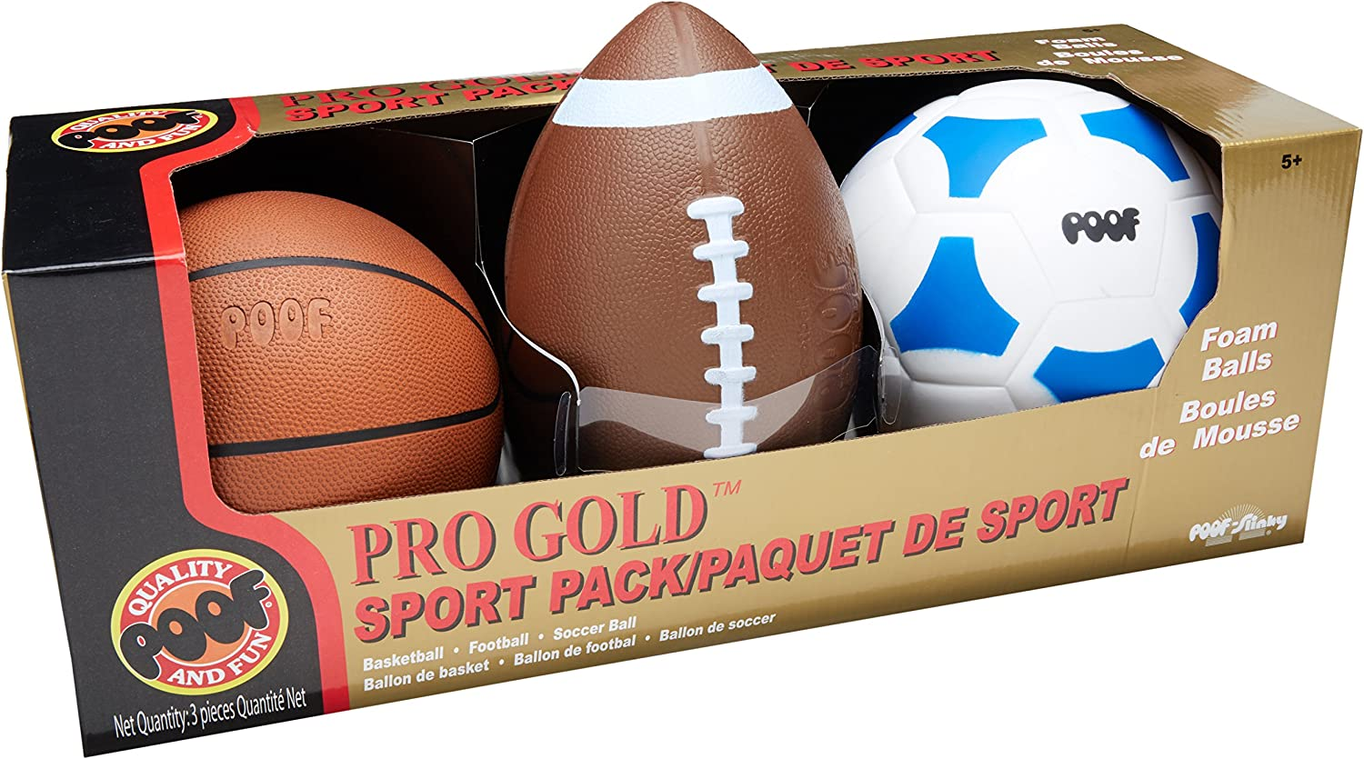 POOF Pro gold Foam 9.5Inch Football, 7Inch Basketball and 7.5Inch Soccer Ball 3Ball Sport Pack in Box, Various colors