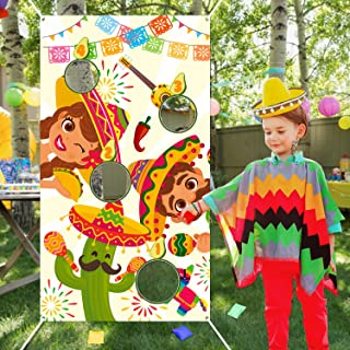 WATINC Mexican Toss Game with 4 Bean Bags, Summer Fiesta Party Game for Kids and Adult, Cactus Banner for Taco Tuesday Cin...