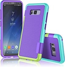 Galaxy S8 Plus Case, S8 Plus / S8+ Case, TILL(TM) Ultra Slim 3 Color Hybrid Impact Anti-slip Shockproof Soft TPU Hard PC Bumper [Build In Card Slot] Wallet Case Cover For Galaxy S8+ 6.2 Inch [Purple]