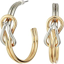 Gold and Silver Knotted Hoop Post Earrings